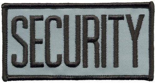"""SECURITY Chest Patch, Reflective, Hook, Black/Reflective Grey, 4x2"""""""