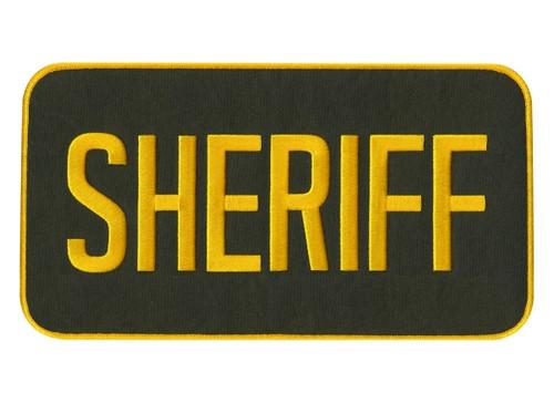 """SHERIFF Back Patch, Hook, Gold/O.D., 11x5-1/2"""""""