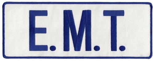 """E.M.T. Back Patch, Reflective, Hook, Royal/Reflective White, 11x4"""""""