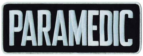 """PARAMEDIC Back Patch, Hook, White/Midnight Blue, 11x4"""""""