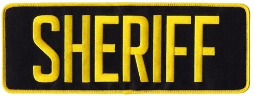 "SHERIFF Back Patch, Hook, Medium Gold/Midnight, 11x4"""