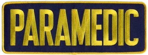 "PARAMEDIC Back Patch, Hook, Medium Gold/Navy Blue, 11x4"""
