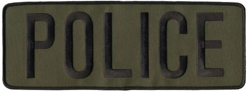 """POLICE Back Patch, Hook, Black/O.D., 11x4"""""""