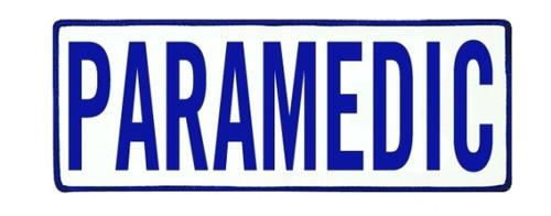 "PARAMEDIC Back Patch, Hook, Royal Blue/White, 11x4"""