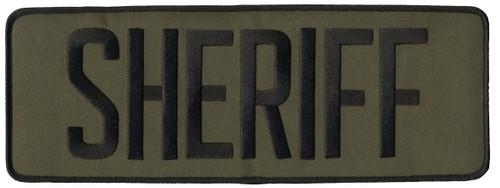 """SHERIFF Back Patch, Hook, Black/O.D., 11x4"""""""