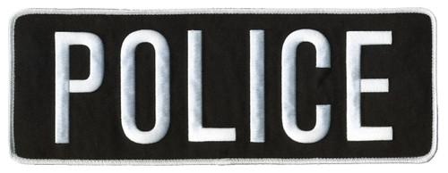 """POLICE Back Patch, Hook, White/Black, 11x4"""""""