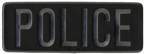 """POLICE Back Patch, Hook, Grey on Black, 11x4"""""""