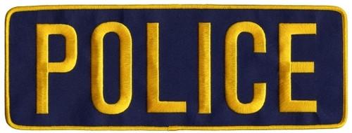 """POLICE Back Patch, Hook, Medium Gold/Navy Blue, 11x4"""""""