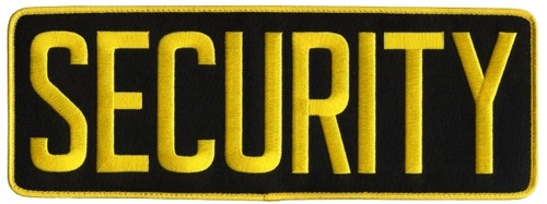 "SECURITY Back Patch, Hook, Medium Gold/Black, 11x4"""