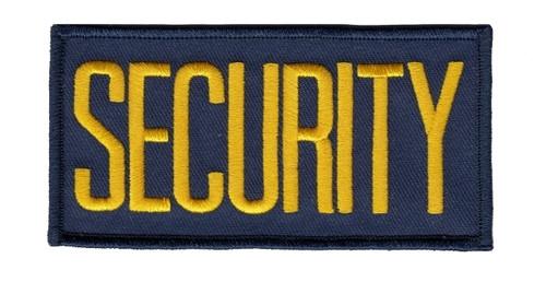 "SECURITY Back Patch, Hook, Medium Gold/Navy Blue, 11x4"""