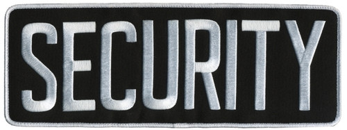 """SECURITY Back Patch, Hook, White/Black, 11x4"""""""