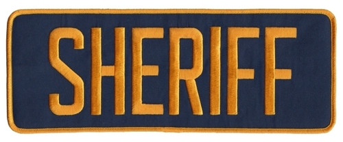 """SHERIFF Back Patch, Hook, Dark Gold/Navy Blue, 11x4"""""""