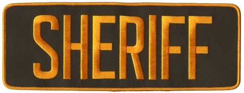 "SHERIFF Back Patch, Hook, Dark Gold/Brown, 11x4"""
