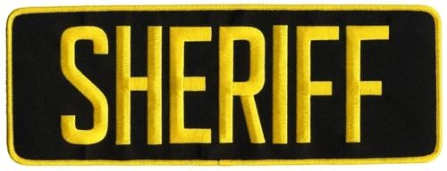 "SHERIFF Back Patch, Hook, Medium Gold/Black, 11x4"""
