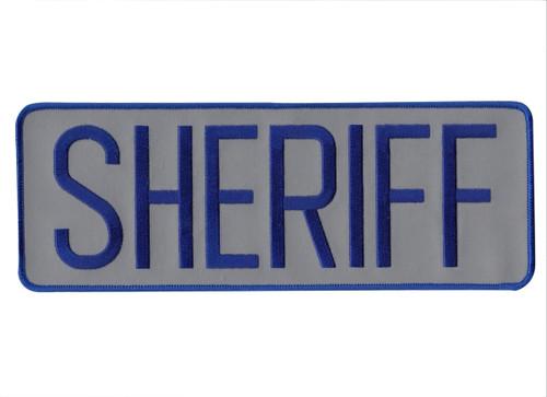"""SHERIFF Back Patch, Hook, Royal/Reflective Grey, 11x4"""""""