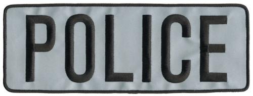 """POLICE Back Patch, Hook, Black/Reflective Grey, 11x4"""""""