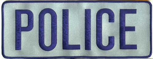 """POLICE Back Patch, Hook, Royal/Reflective Grey, 11x4"""""""