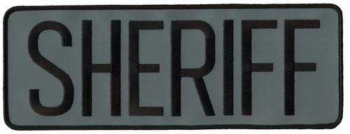"""SHERIFF Back Patch, Hook, Black/Reflective Grey, 11x4"""""""