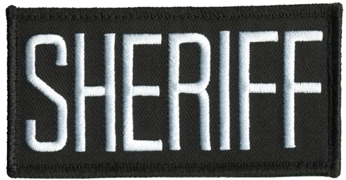 """SHERIFF Chest Patch, Hook, White/Black, 4x2"""""""