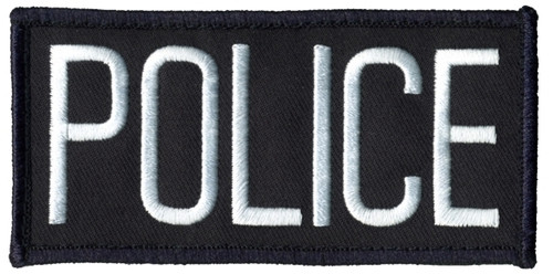 """POLICE Chest Patch, Hook, White/Midnight Blue, 4x2"""""""