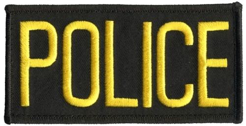 "POLICE Chest Patch, Hook, Medium Gold/Black, 4x2"""