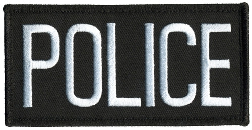 """POLICE Chest Patch, Hook, White/Black, 4x2"""""""