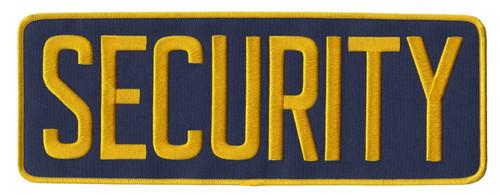 "SECURITY Chest Patch, Hook, Medium Gold/Navy Blue, 4x2"""