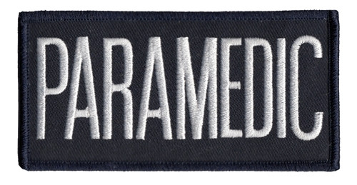"PARAMEDIC Chest Patch, Hook, White/Dark Navy, 4x2"""