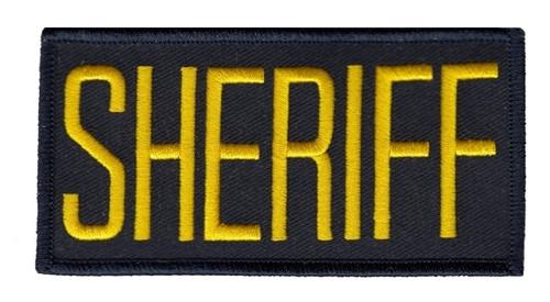 "SHERIFF Chest Patch, Hook, Medium Gold/Midnight, 4x2"""