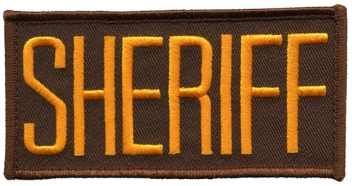 "SHERIFF Chest Patch, Hook, Dark Gold/Brown, 4x2"""