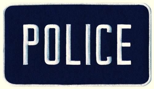 """POLICE Back Patch, Hook, White/Navy Blue, 9x5"""""""