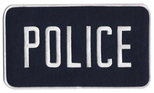 "POLICE Back Patch, Hook, White/Midnight Blue, 9x5"""