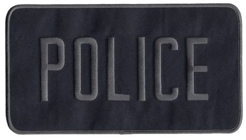 """POLICE Back Patch, Hook, Grey/Midnight Blue, 9x5"""""""