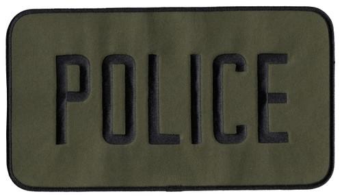 """POLICE Back Patch, Hook, Black/O.D., 9x5"""""""