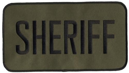 """SHERIFF Back Patch, Hook, Black/O.D., 9x5"""""""