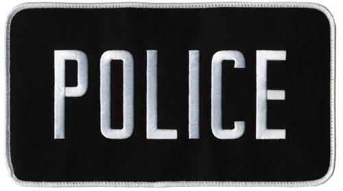 """POLICE Back Patch, Hook, White/Black, 9x5"""""""