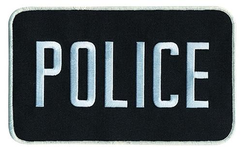 """POLICE Back Patch, Hook, Grey/Black, 9x5"""""""