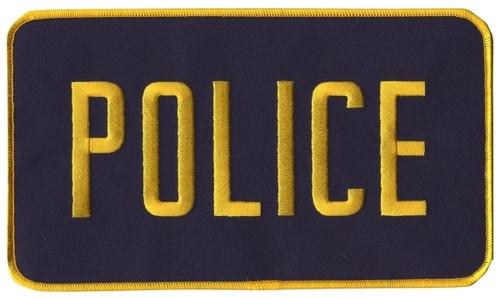 """POLICE Back Patch, Hook, Medium Gold/Navy Blue, 9x5"""""""