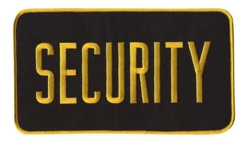 "SECURITY Back Patch, Hook, Medium Gold/Black, 9x5"""