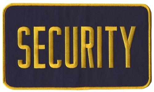"SECURITY Back Patch, Hook, Medium Gold/Navy Blue, 9x5"""