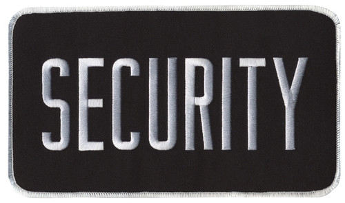 """SECURITY Back Patch, Hook, White/Black, 9x5"""""""