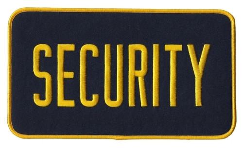 "SECURITY Back Patch, Hook, Medium Gold/Midnight, 9x5"""