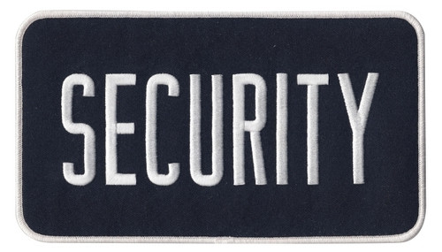 """SECURITY Back Patch, Hook, White/Midnight Blue, 9x5"""""""