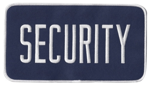 """SECURITY Back Patch, Hook, White/Navy Blue, 9x5"""""""