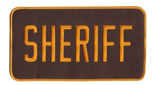 "SHERIFF Back Patch, Hook, Dark Gold/Brown, 9x5"""