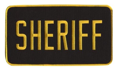"SHERIFF Back Patch, Hook, Medium Gold/Black, 9x5"""