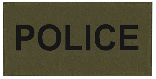 """POLICE Chest Patch, Printed, Hook w/Loop, Tactical Stlye, Black/O.D., 5-1/2x2-5/8"""""""