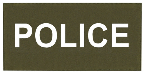 """POLICE Chest Patch, Printed, Hook w/Loop, Tactical Stlye, White/O.D., 5-1/2x2-5/8"""""""
