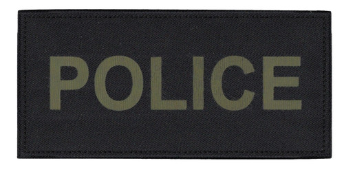 """POLICE Chest Patch, Printed, Hook w/Loop, Tactical Stlye, O.D./Black, 5-1/2x2-5/8"""""""