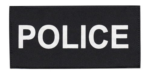 """POLICE Chest Patch, Printed, Hook w/Loop, Tactical Stlye, White/Black, 5-1/2x2-5/8"""""""